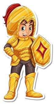 Um cavaleiro de armadura segurando uma espada com um adesivo de personagem de desenho animado
