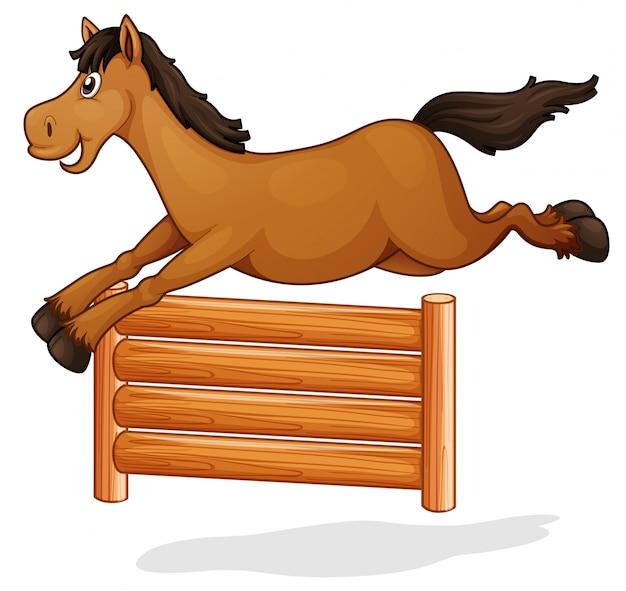 Um, cavalo, pular, ligado, cerca madeira