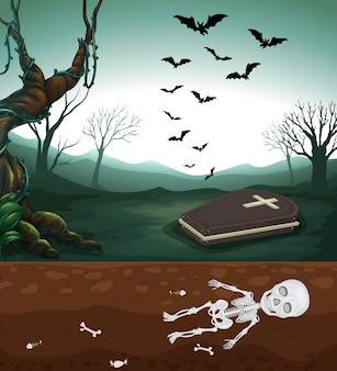 Um cemitério assustador e esqueleto