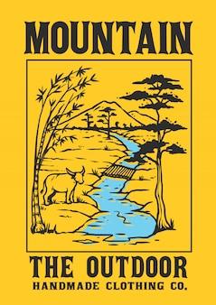 Um cenário da aldeia com uma montanha, um rio e um animal local