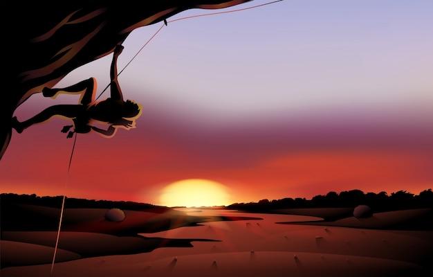 Um cenário de pôr-do-sol no deserto