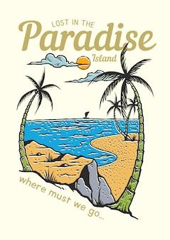 Um cenário de praia tropical com coqueiros na temporada de verão