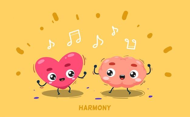 Um cérebro está dançando junto com o coração. ilustração isolada