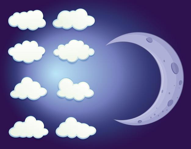 Um céu com nuvens e uma lua