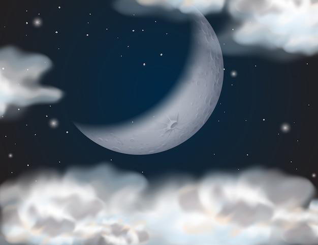 Um céu nublado à noite