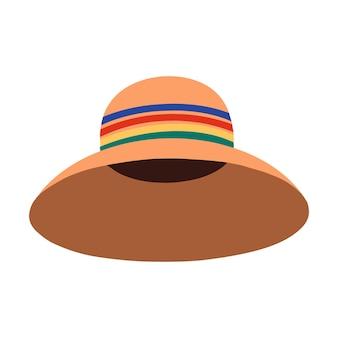 Um chapéu cloche de mulher. cocar de verão. ilustração vetorial