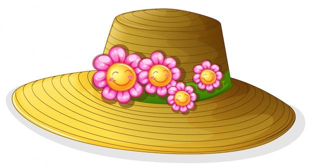 Um chapéu com flores sorridentes