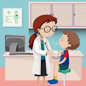 Um checkup de menino no hospital