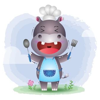 Um chef hipopótamo fofo