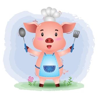 Um chef pequeno porco bonito