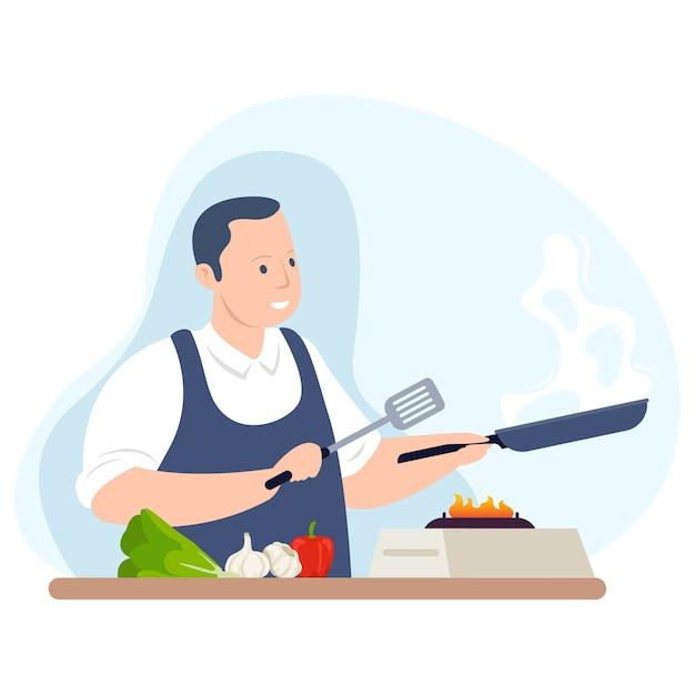 Um chef profissional está preparando um menu especial para o cliente