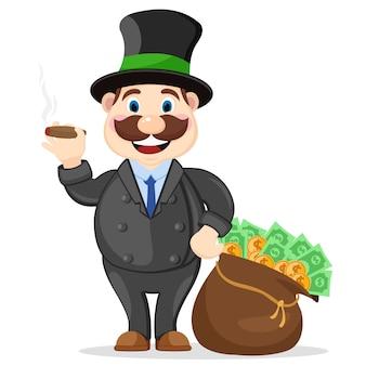 Um chefe rico fuma um charuto ao lado de um saco cheio de dinheiro