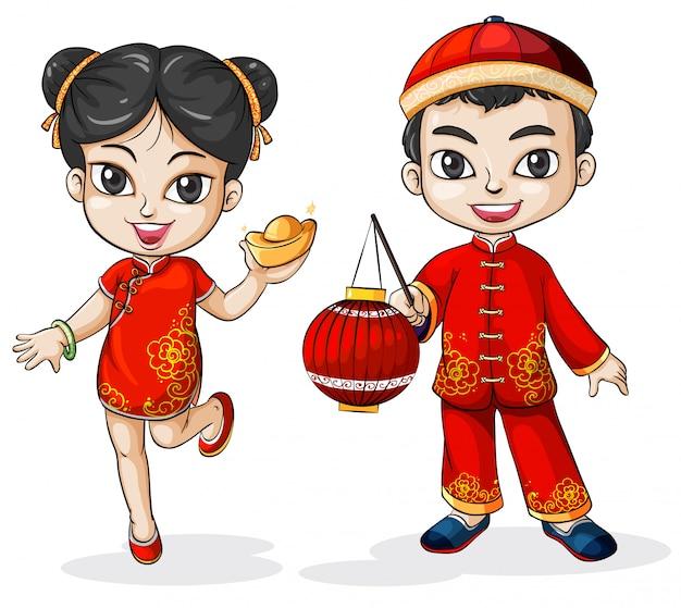 Um chinês masculino e feminino