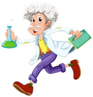 Um cientista correndo apressadamente