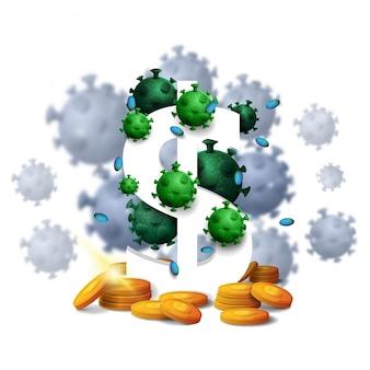 Um cifrão branco tridimensional com moedas de ouro ao redor e cercado por moléculas de coronavírus isoladas no fundo branco