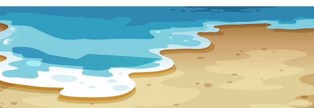 Um, cima, praia, fundo