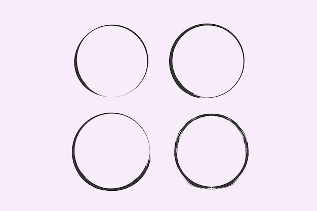 Um círculo desenhado por uma escova vector doodle quadro para uso de design círculos grunge