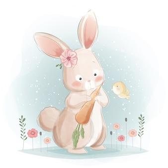 Um coelhinho fofo e suas cenouras