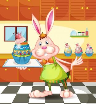 Um coelho assando um cupcakes desenhados com ovos