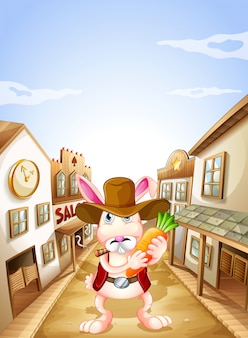 Um coelho com uma cenoura