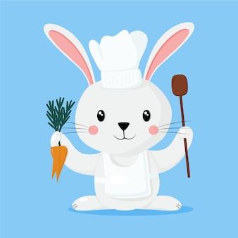 Um coelho cozinheiro com seu avental e ingredientes.