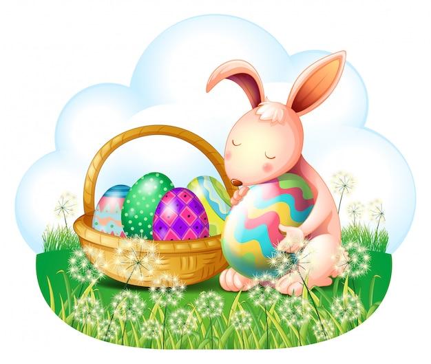 Um coelho e uma cesta cheia de ovos de páscoa