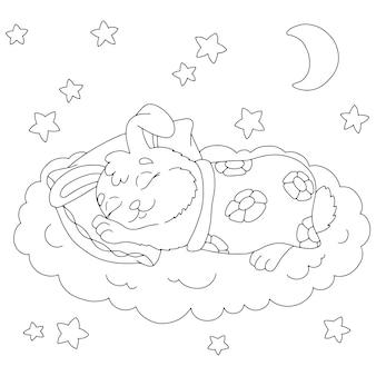 Um coelho fofo dorme debaixo de um cobertor. página de livro para colorir para crianças