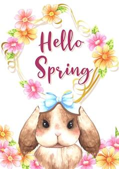 Um coelho fofo na frente de uma primavera floral