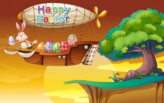 Um coelho segurando um ovo no dirigível