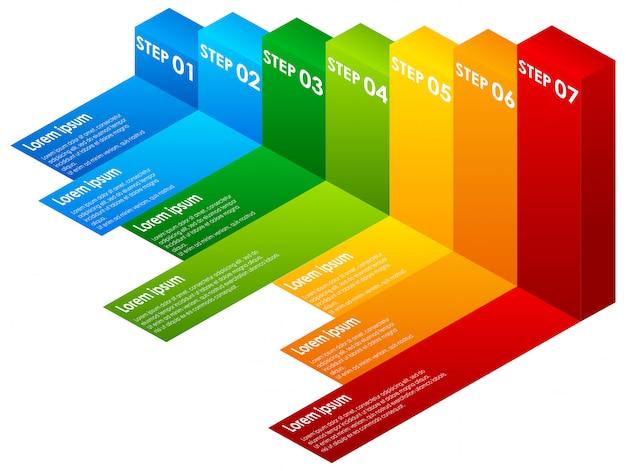 Um colorido infográfico passos