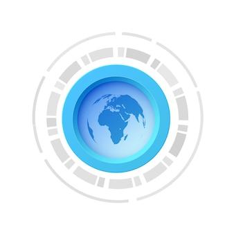 Um conceito de botão eletrônico com imagem do mapa-múndi no centro e isolado de cor azul-branca