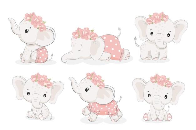 Um conjunto de 6 garotas elefantes fofas. ilustração em vetor de um desenho animado.