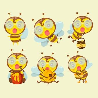 Um conjunto de abelhas bonito dos desenhos animados.