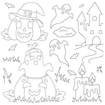 Um conjunto de abóboras e fantasmas risonhos. página de livro para colorir para crianças. tema de halloween