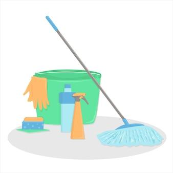Um conjunto de acessórios para limpeza. estilo cartoon