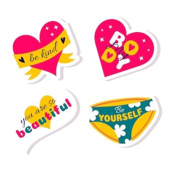 Um conjunto de adesivos com frases motivacionais positivas com corações e calcinhas femininas corpo positivo