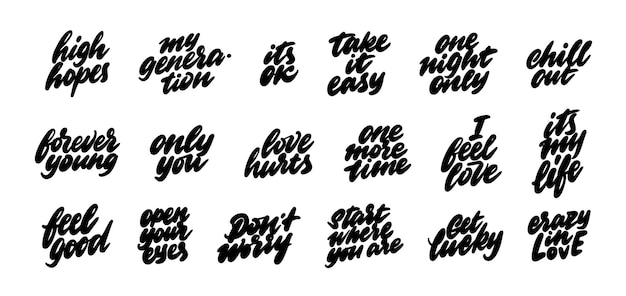 Um conjunto de adesivos para redes sociais. frases coloquiais populares em inglês. ilustração vetorial