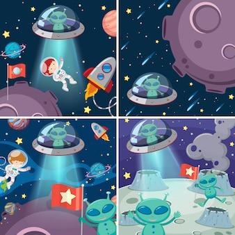 Um conjunto de alienígenas no espaço