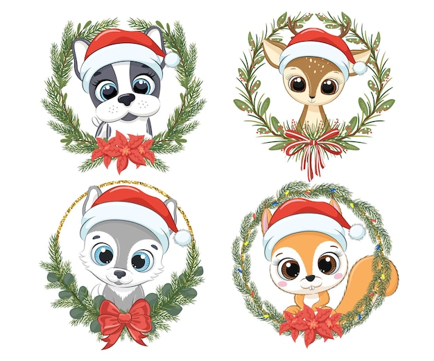 Um conjunto de animais fofos para o ano novo e para o natal. cachorro, cachorrinho, rena, lobo, esquilo. ilustração em vetor de um desenho animado.