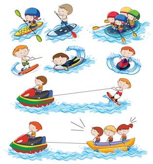 Um conjunto de atividades aquáticas