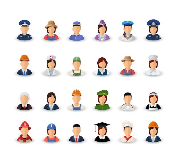 Um conjunto de avatares com profissões.
