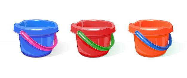 Um conjunto de baldes de plástico.