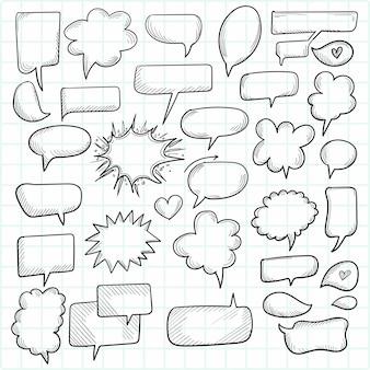 Um conjunto de balões de fala e elementos cômicos