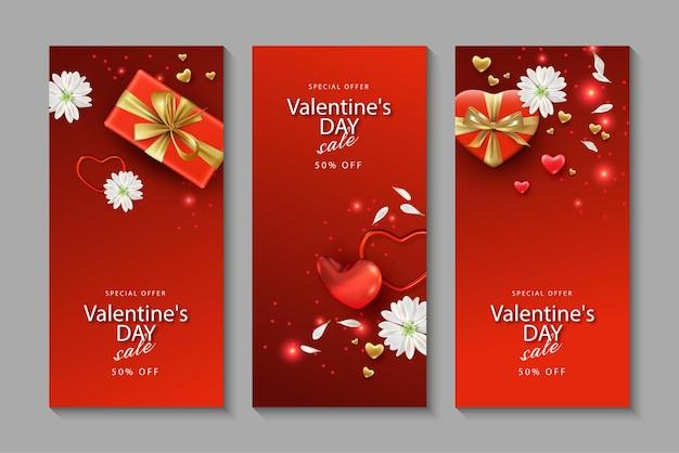 Um conjunto de banners verticais para o dia dos namorados com presentes, flores e corações em um estilo realista
