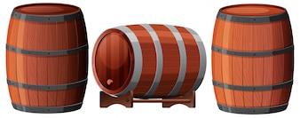 Um conjunto de barril de carvalho