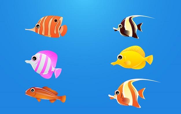 Um conjunto de belos personagens de peixes do mar