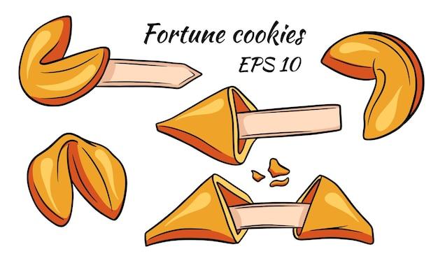 Um conjunto de biscoitos da sorte coloridos.