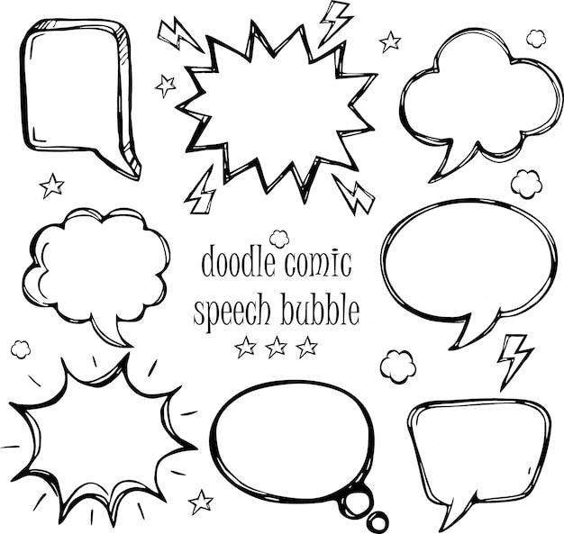 Um conjunto de bolhas de discurso em quadrinhos doodle e elementos com sombras de meio-tom