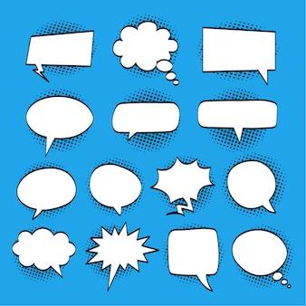 Um conjunto de bolhas em quadrinhos e elementos com sombras de meio-tom na ilustração de fundo azul