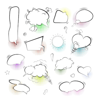 Um conjunto de bolhas em quadrinhos e elementos em um fundo branco. vector illistration